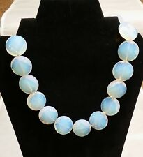 """Necklace Moonstone Stringed Bluish opal-like color 16x 25.5mm stones 18""""L"""