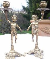 LOVELY PAIR OF VINTAGE SHABBY BRASS FRENCH CANDLE HOLDERS CANDLESTICKS cherubs
