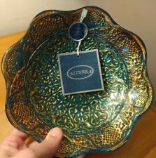 "Azzurra Decorative Handmade Turkish Glass Bowl Green Blue Golden 8"" diameter new"
