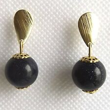 SMALL DARK BLUE GOLDSTONE EARRINGS, GEMSTONE BALL, QUALITY GOLD PLATED FITTINGS