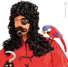 Parrucche e barbe neri in poliestere per carnevale e teatro, tema pirati