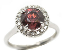 SPARKLING 3.50ctw Rose Zircon and Diamond Halo Ring 14k Handmade in USA