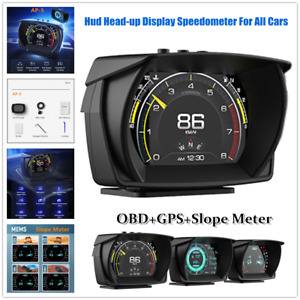 Hud Head-up Display Speedometer OBD GPS Slope Meter Driving Computer For All Car