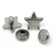 50Sets Silberfarbe Sterne Nieten Ziernieten Schmucknieten 9x9mm 8x4mm