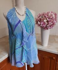 F13  Marks & Spencer Blue Green Purple Halterneck Summer Top Plus Size 22