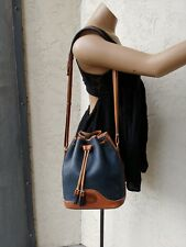 Vintage DOONEY & BOURKE Blue & Tan Pebbled Leather Drawstring Bucket Bag Purse