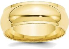 10K Yellow Gold 8mm Half Round with Edge Band Ring