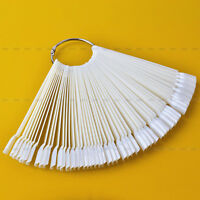 50PCS False Nude/Clear Nail Art Tips Sticks Polish Display Fan Practice Board CO