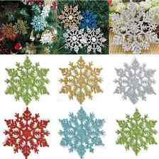 12pcs Bulk Glitter Snowflake Christmas Ornaments Xmas Tree Hanging Decoration