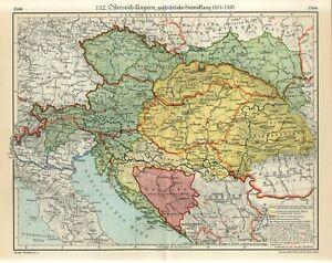 1920s AUSTRIA-HUNGARY EMPIRE HISTORY 1815-1920 CZECH UKRAINE SERBIA BOSNIA Map