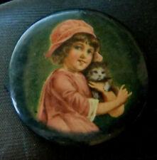"Vintage Pocket Mirror Young Girl Pink Dress Hat Holding Cat/Kitten 1 3/4"" +Bonus"