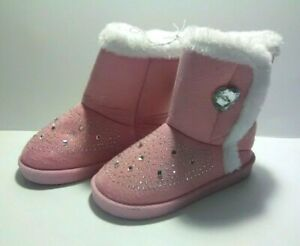 Swiggles Toddler Girl's Pink Studded Casual Boots - Hook & Loop Side - Size: 9