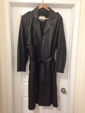 Black Mens Black Leather Trench Coat Size Mens 46 Made In Italy 1990's $250