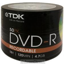 50 New TDK 16X Logo 4.7GB Premium DVD-R Shrink Wrapped [FREE USPS Priority Mail]