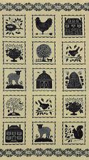 STURBRIDGE~FABRIC PANEL~MODA~6070-16~KATHY SCHMITZ~BIRDS FOLK ART~HOUSE~CREAM