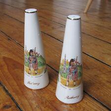 Rothesay Isle of Bute Souvenir of Scotland Vintage Salt + Pepper Pots Cone Piper