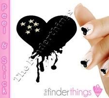 Valentine's Day Black Dripping Heart Emo Nail Art Decal Stickers HAR103