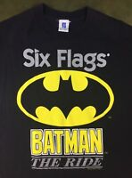 Vintage Mens L 90s 1995 Batman Roller Coaster Ride Six Flags DC Comics T-Shirt