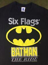 Vintage Mens L 90s 1995 Batman Roller Coaster Ride Six Flags DC Comics T-Shirt