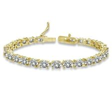 Oval-cut 6x4mm Created White Sapphire Tennis Bracelet in Sterling Silver