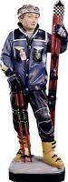Statue Skulptur Skifahrer CM 12 Holz Der IN Gröden Dekoriert Hand