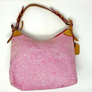 Dooney & Bourke Cloth Hobo Bag Pink Doodle Print Leather Strap Middle Zip