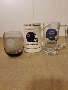Superbowl XX Champion Chicago Bears Beer Stein, Beer Mug, Dinking Glass Set Of 3