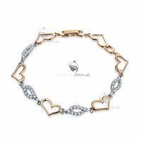 18k white yellow gold gf chain sparkling simulated diamond love heart bracelet