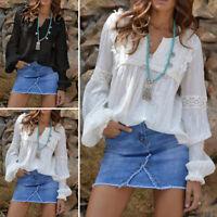 100% coton Femme Mince Manche Longue Couture Casual en vrac Shirt Tops Plus