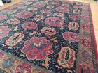 13x17 RUG medallions animal hunter horse leopard cat RED Blue Navy hand-knotted