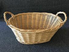 Wicker Rattan Basket Beige 2 handle