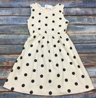 Gap Kids Girls X-Large (12) Lightweight White Navy Blue Polka Dot Sundress. Nwt