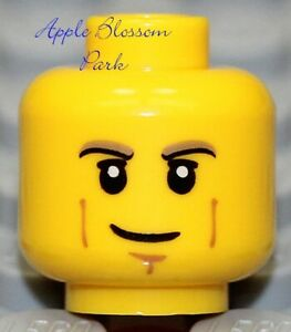 NEW Lego City YELLOW MINIFIG HEAD Boy Man Smile Black Brown Eyebrows Cheek Lines