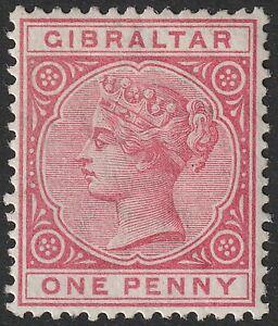 Gibraltar 1887 QV 1d Rose Mint SG9 cat £50