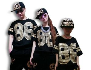 New Fashion Women Kids Hip Hop Dance T-shirts Performance Costumes Loose Tops