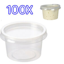 100x 4oz Clear Plastic Containers Tubs with Separate Lids Food Safe Takeaway
