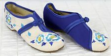 Chinese Mary Jane Slippers Shoes Blue Tan Flower Embroidered Women Sz 6.5
