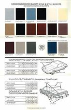 1988 Cadillac ELDORADO / SEVILLE COLOR Chart Chip Sample Brochure (+Spec's):NOS!