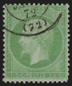 France n°35, Napoléon 5c vert-pâle sur bleu, oblitéré COTE 230 € - B/TB