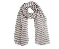 FOULARD écharpe rayé beige et crème 110x180 cm