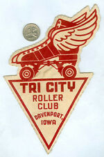 WWII '40's era DAVENPORT IOWA TRI CITY ROLLER SKATING RINK CLUB CLOTH PATCH L146