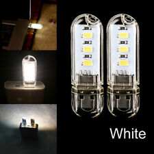 2Pcs Mini USB 3 LED White Night Light Lamp Gadgets for Car PC Laptop Reading