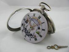 Oversize Silver Verge Pocket Watch Very Rare Antique Masonic 63mm