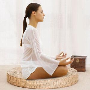 Round Straw Tatami Pouf Pillow Floor Mat Meditation Yoga Seat Cushion Pad Decor