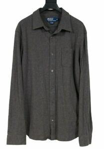 Polo Ralph Lauren Men's Gray Pocket Long Button Down Cashmere Blend Shirt XL
