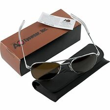 AO American Optical Aviator Silver Frames 55 mm Sunglasses Cosmentan Glass