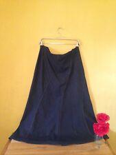Size 14 dark blue denim 70's vintage boho look wide panel full flare knee skirt