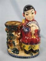 Oriental Girl With Fan Planter Vase Vintage Pottery Handpainted Japan 1950s (O)