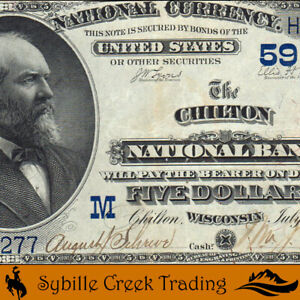 ATTRACTIVE 1882 $5 CHILTON, WI NATIONAL BANK NOTE CALUMET COUNTY   1277