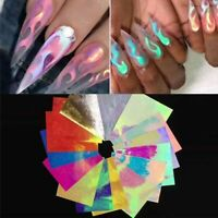 Fire Nail Holographic Flame Stickers Hollow Nails Art Stripe Decal Manicure Tips